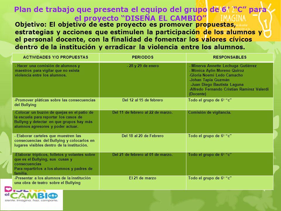 Plan de trabajo que presenta el equipo del grupo de 6° C para el proyecto DISEÑA EL CAMBIO Objetivo: El objetivo de este proyecto es promover propuest