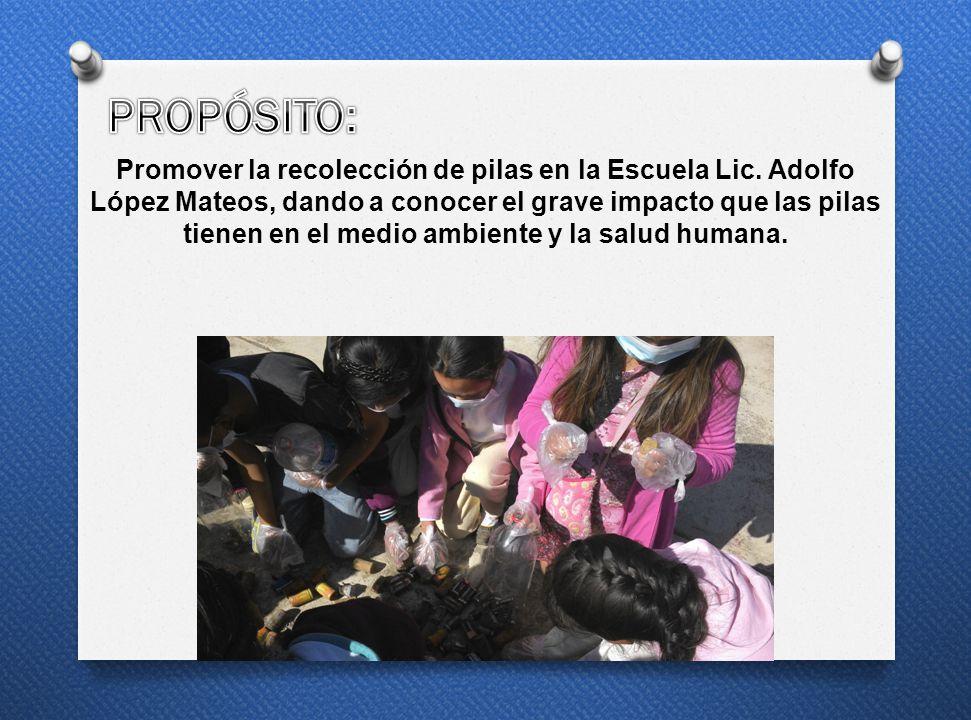 Promover la recolección de pilas en la Escuela Lic. Adolfo López Mateos, dando a conocer el grave impacto que las pilas tienen en el medio ambiente y