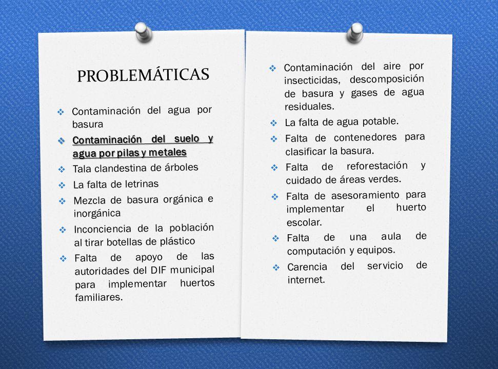 PROBLEMÁTICAS Contaminación del agua por basura Contaminación del suelo y agua por pilas y metales Contaminación del suelo y agua por pilas y metales