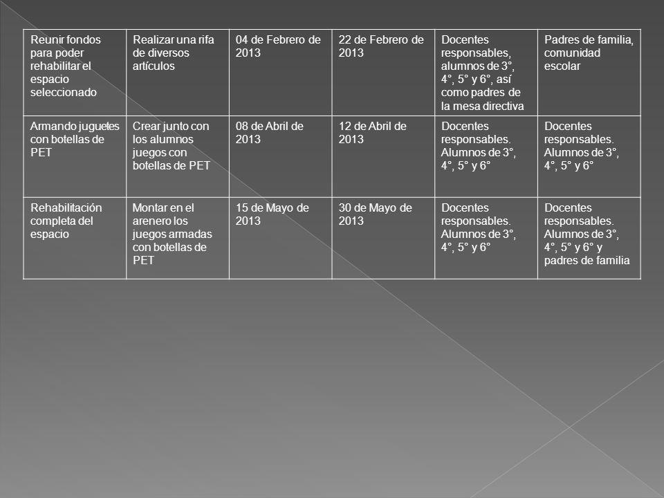Reunir fondos para poder rehabilitar el espacio seleccionado Realizar una rifa de diversos artículos 04 de Febrero de 2013 22 de Febrero de 2013 Docen