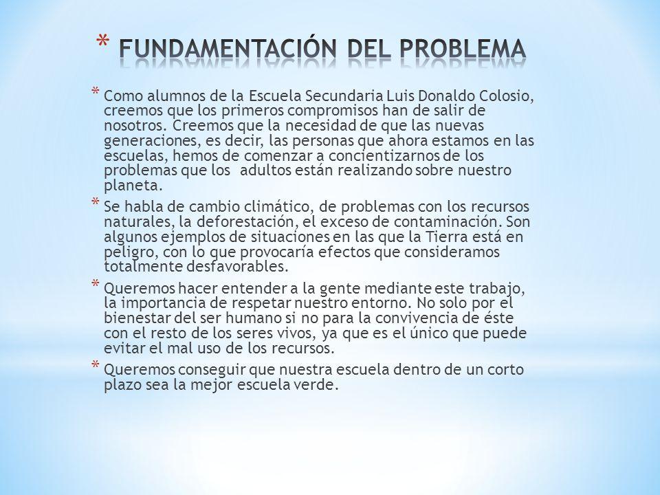 * Como alumnos de la Escuela Secundaria Luis Donaldo Colosio, creemos que los primeros compromisos han de salir de nosotros. Creemos que la necesidad