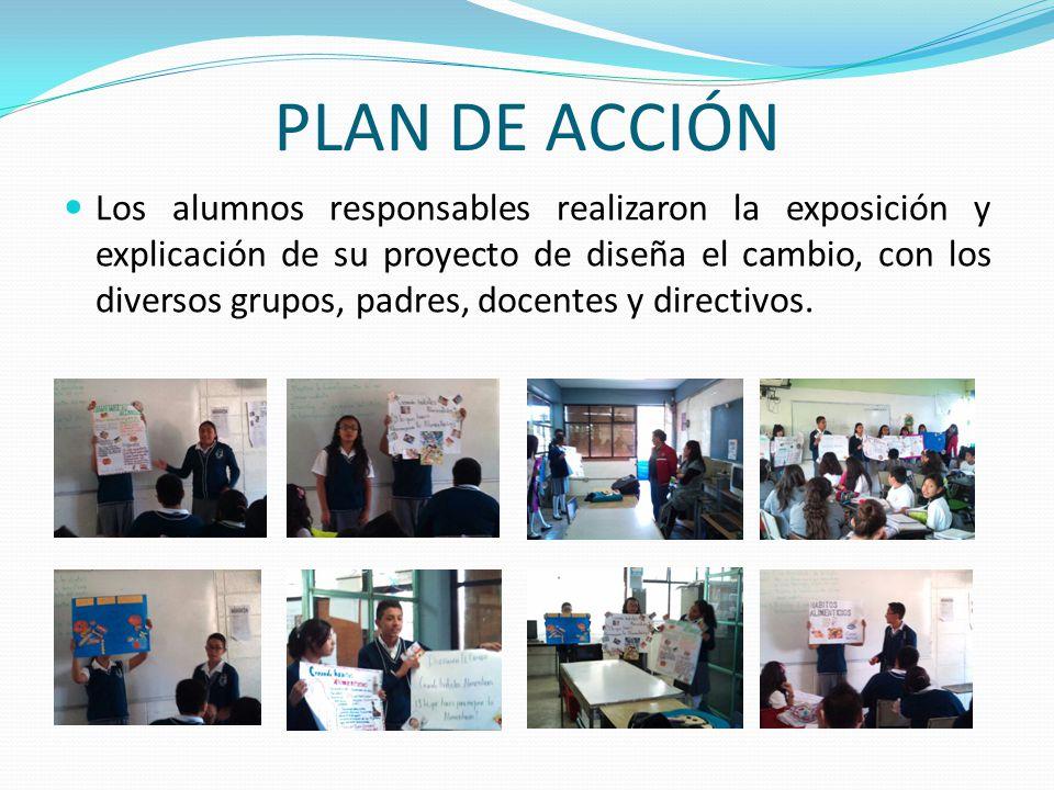 PLAN DE ACCIÓN Los alumnos responsables realizaron la exposición y explicación de su proyecto de diseña el cambio, con los diversos grupos, padres, do