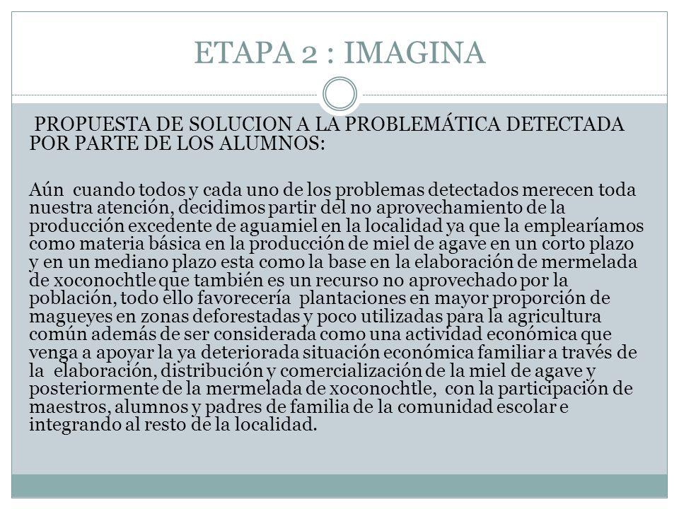 ETAPA 2 : IMAGINA PROPUESTA DE SOLUCION A LA PROBLEMÁTICA DETECTADA POR PARTE DE LOS ALUMNOS: Aún cuando todos y cada uno de los problemas detectados