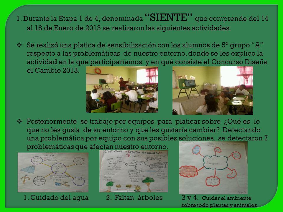 1. Durante la Etapa 1 de 4, denominada SIENTE que comprende del 14 al 18 de Enero de 2013 se realizaron las siguientes actividades: Se realizó una pla