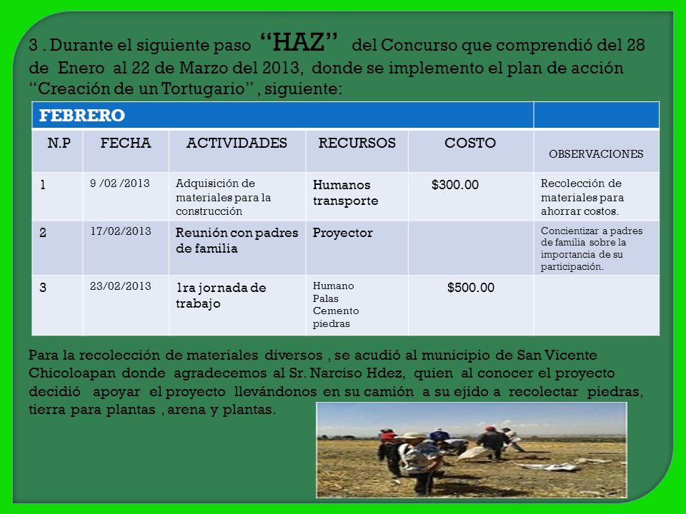 3. Durante el siguiente paso HAZ del Concurso que comprendió del 28 de Enero al 22 de Marzo del 2013, donde se implemento el plan de acción Creación d