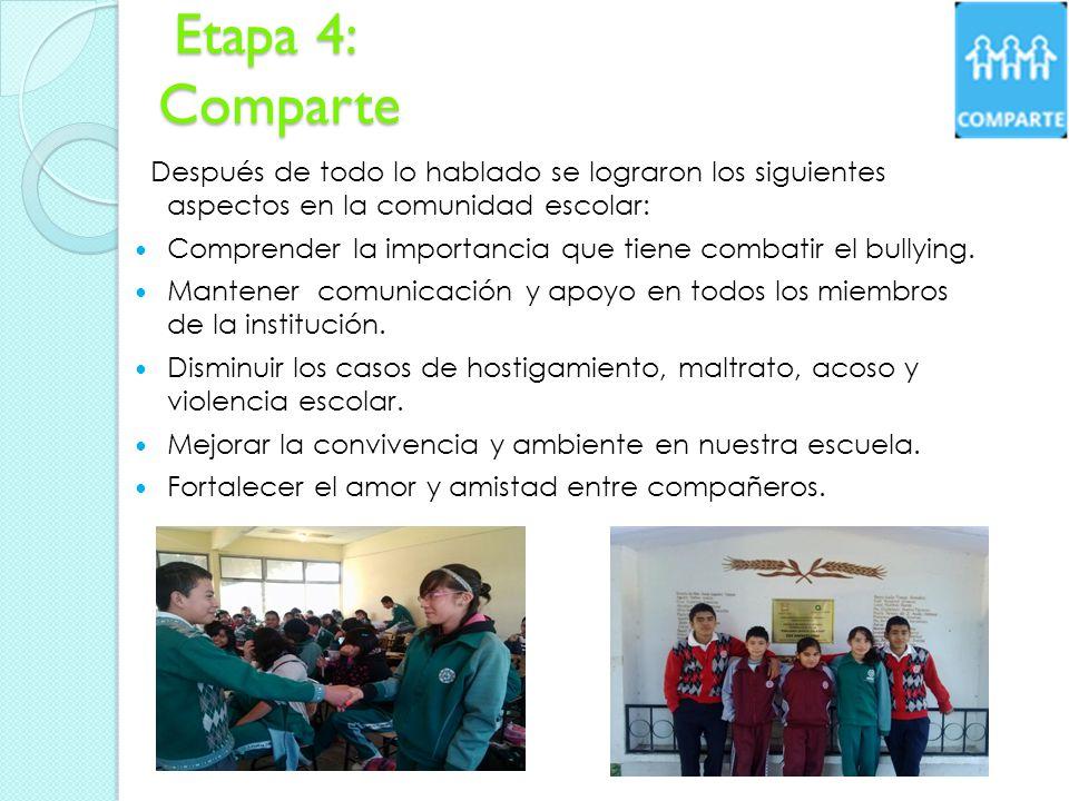 Etapa 4: Comparte Etapa 4: Comparte Después de todo lo hablado se lograron los siguientes aspectos en la comunidad escolar: Comprender la importancia que tiene combatir el bullying.