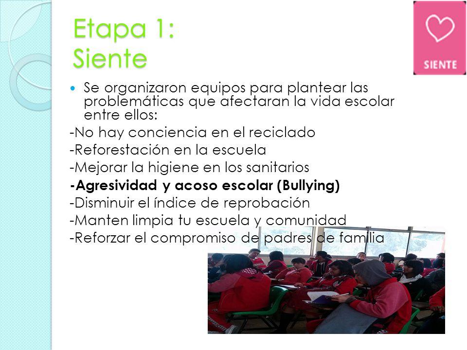 Etapa 1: Siente Se organizaron equipos para plantear las problemáticas que afectaran la vida escolar entre ellos: -No hay conciencia en el reciclado -Reforestación en la escuela -Mejorar la higiene en los sanitarios -Agresividad y acoso escolar (Bullying) -Disminuir el índice de reprobación -Manten limpia tu escuela y comunidad -Reforzar el compromiso de padres de familia