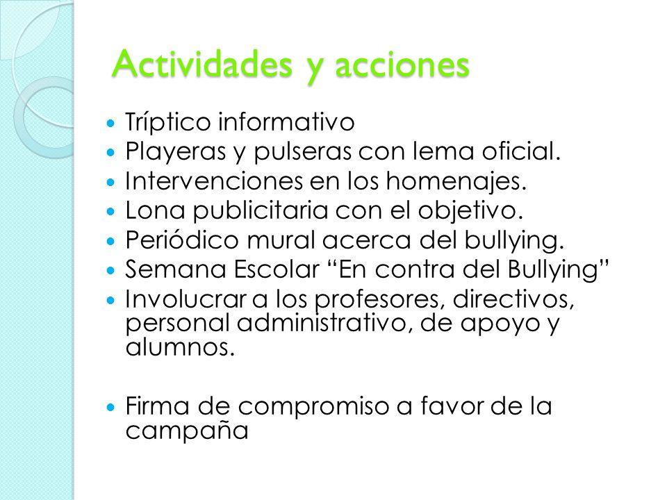 Actividades y acciones Tríptico informativo Playeras y pulseras con lema oficial.