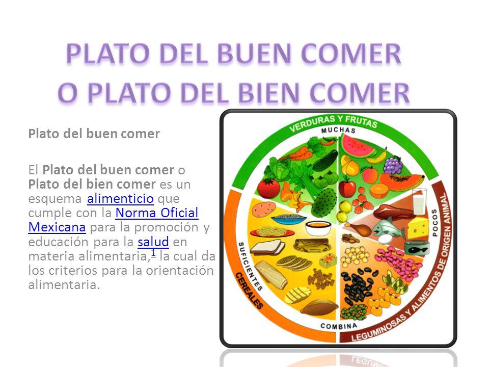 Plato del buen comer El Plato del buen comer o Plato del bien comer es un esquema alimenticio que cumple con la Norma Oficial Mexicana para la promoción y educación para la salud en materia alimentaria, 1 la cual da los criterios para la orientación alimentaria.alimenticioNorma Oficial Mexicanasalud 1
