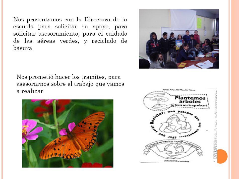 Nos presentamos con la Directora de la escuela para solicitar su apoyo, para solicitar asesoramiento, para el cuidado de las aéreas verdes, y reciclad
