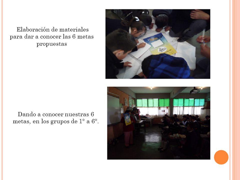 Elaboración de materiales para dar a conocer las 6 metas propuestas Dando a conocer nuestras 6 metas, en los grupos de 1° a 6°.