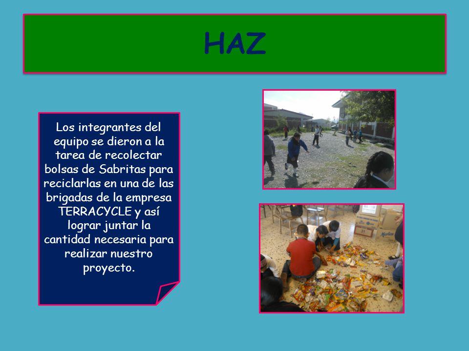 Los integrantes del equipo se dieron a la tarea de recolectar bolsas de Sabritas para reciclarlas en una de las brigadas de la empresa TERRACYCLE y así lograr juntar la cantidad necesaria para realizar nuestro proyecto.