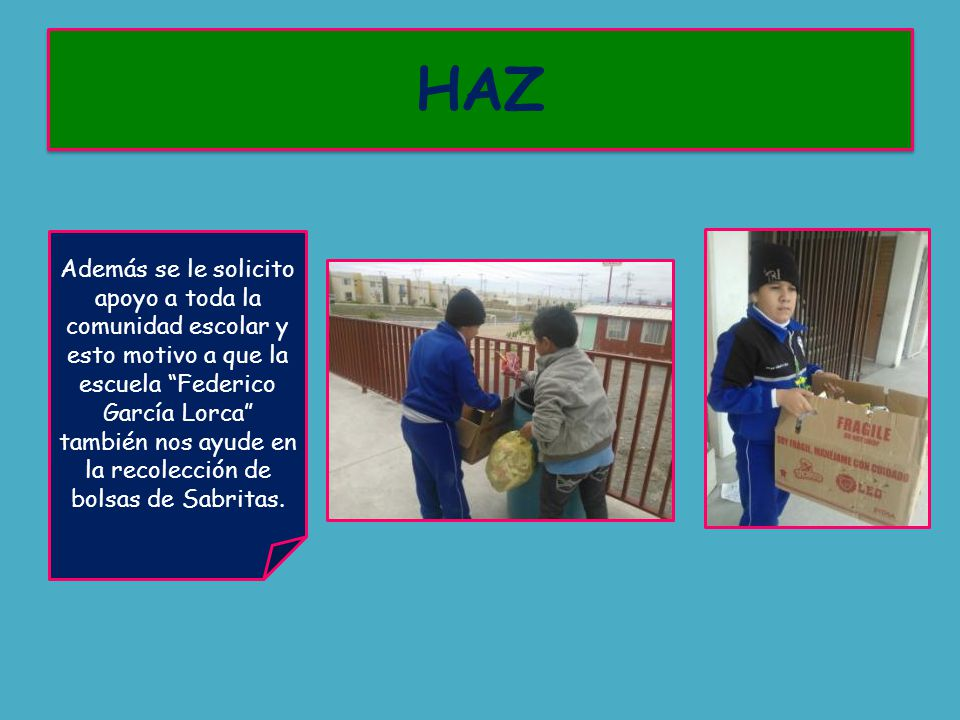 Además se le solicito apoyo a toda la comunidad escolar y esto motivo a que la escuela Federico García Lorca también nos ayude en la recolección de bolsas de Sabritas.