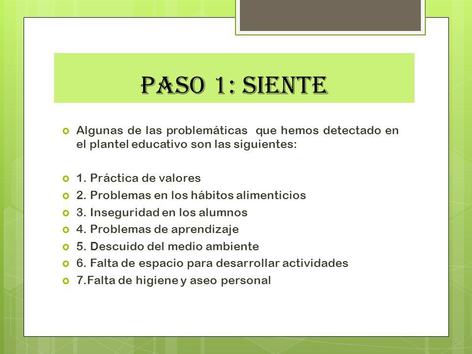 PASO 1: SIENTE Algunas de las problemáticas que hemos detectado en el plantel educativo son las siguientes: 1. Práctica de valores 2. Problemas en los