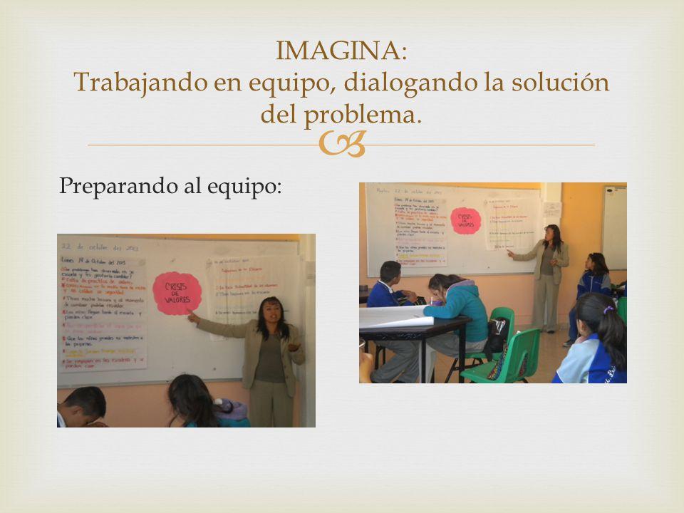 Preparando al equipo: IMAGINA: Trabajando en equipo, dialogando la solución del problema.