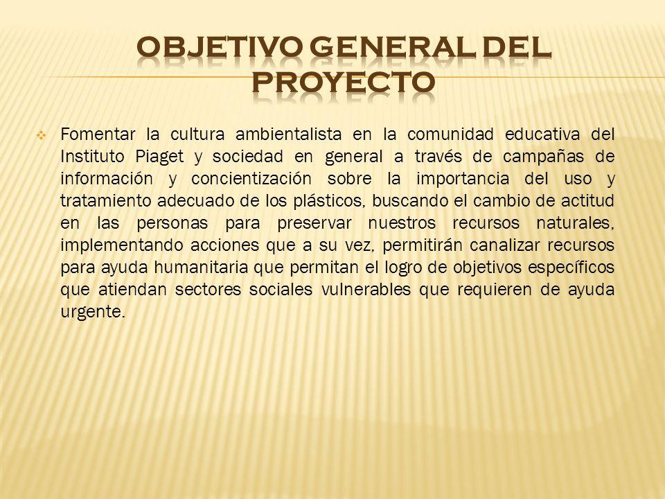 Fomentar la cultura ambientalista en la comunidad educativa del Instituto Piaget y sociedad en general a través de campañas de información y concienti