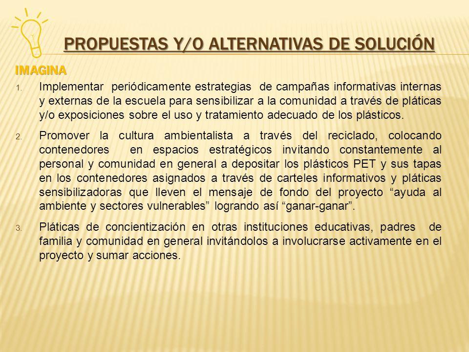 PROPUESTAS Y/O ALTERNATIVAS DE SOLUCIÓN 1. Implementar periódicamente estrategias de campañas informativas internas y externas de la escuela para sens