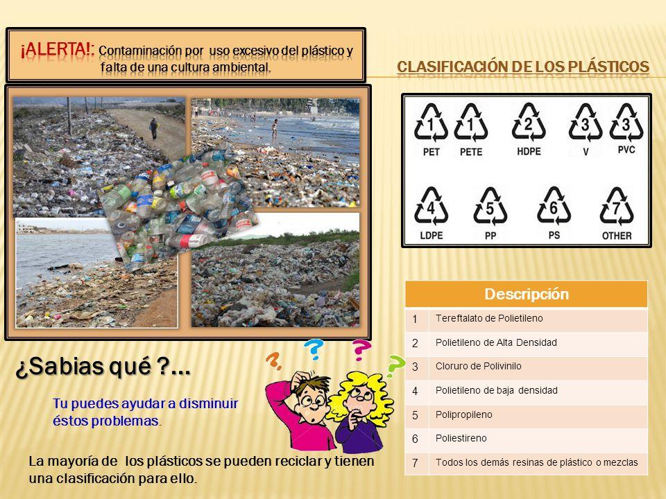 ¿Sabias qué ?... Tu puedes ayudar a disminuir éstos problemas. La mayoría de los plásticos se pueden reciclar y tienen una clasificación para ello. De