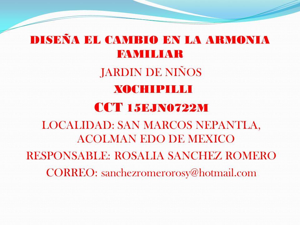 DISEÑA EL CAMBIO EN LA ARMONIA FAMILIAR JARDIN DE NIÑOS XOCHIPILLI CCT 15EJN0722M LOCALIDAD: SAN MARCOS NEPANTLA, ACOLMAN EDO DE MEXICO RESPONSABLE: R