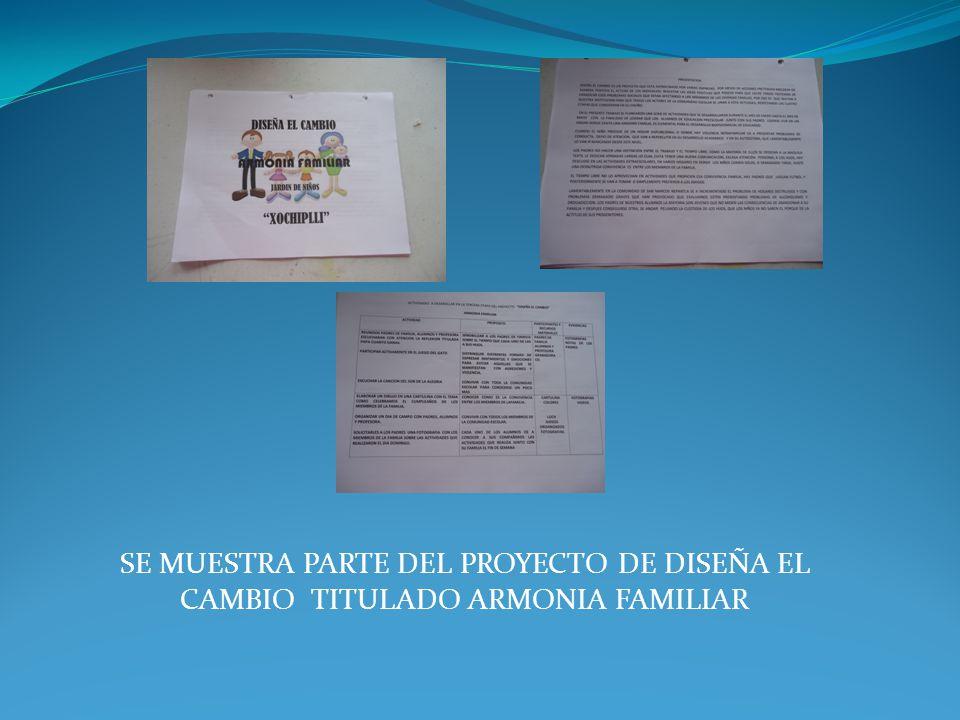 SE MUESTRA PARTE DEL PROYECTO DE DISEÑA EL CAMBIO TITULADO ARMONIA FAMILIAR