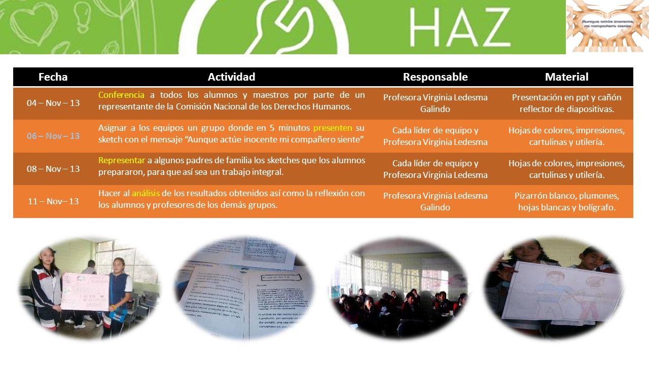FechaActividadResponsableMaterial 04 – Nov – 13 Conferencia a todos los alumnos y maestros por parte de un representante de la Comisión Nacional de los Derechos Humanos.