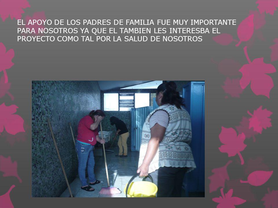 EL APOYO DE LOS PADRES DE FAMILIA FUE MUY IMPORTANTE PARA NOSOTROS YA QUE EL TAMBIEN LES INTERESBA EL PROYECTO COMO TAL POR LA SALUD DE NOSOTROS