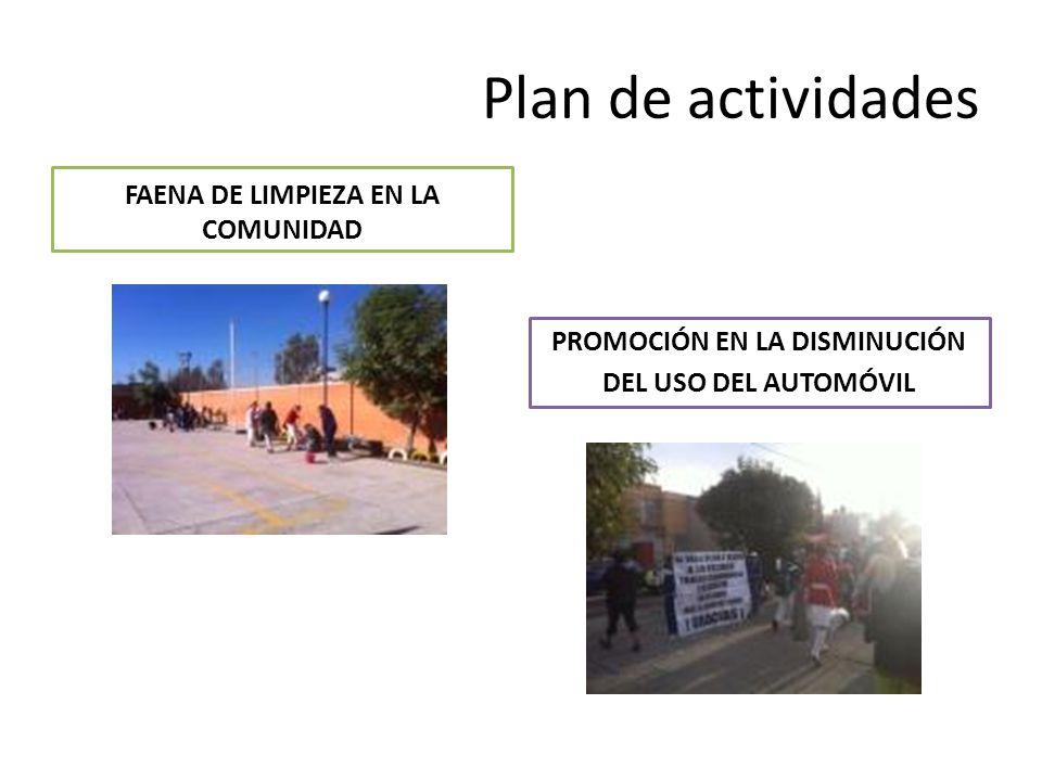 Plan de actividades FAENA DE LIMPIEZA EN LA COMUNIDAD PROMOCIÓN EN LA DISMINUCIÓN DEL USO DEL AUTOMÓVIL