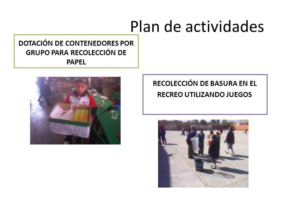 Plan de actividades DOTACIÓN DE CONTENEDORES POR GRUPO PARA RECOLECCIÓN DE PAPEL RECOLECCIÓN DE BASURA EN EL RECREO UTILIZANDO JUEGOS
