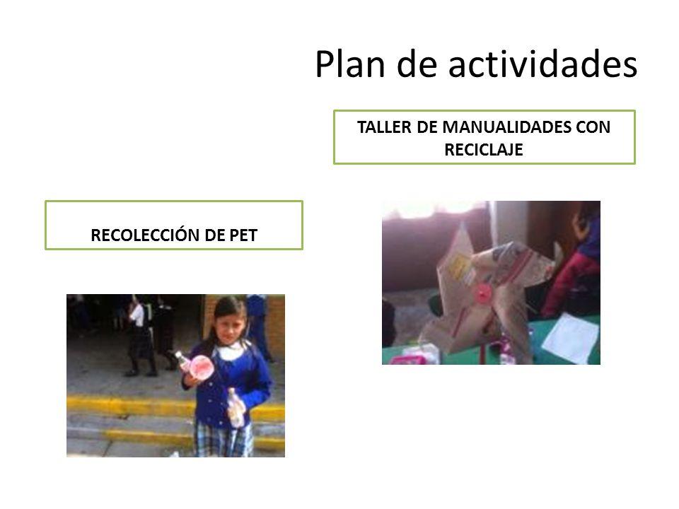 Plan de actividades TALLER DE MANUALIDADES CON RECICLAJE RECOLECCIÓN DE PET