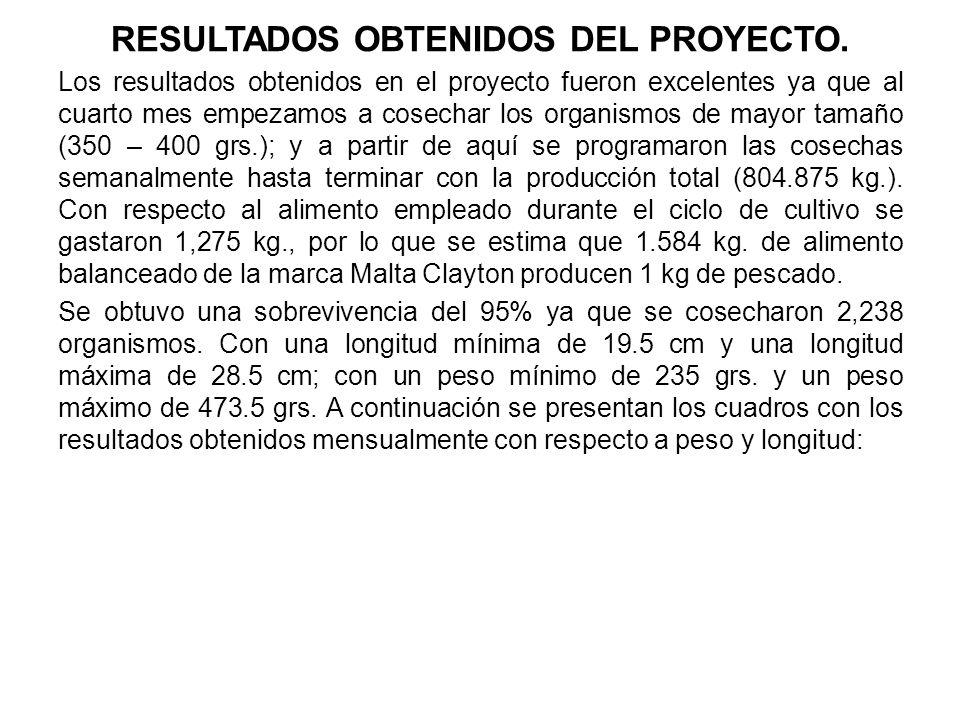 RESULTADOS OBTENIDOS DEL PROYECTO.
