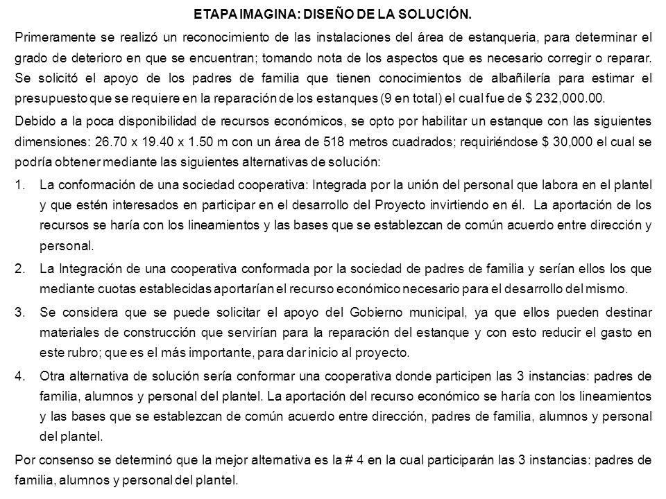 ETAPA IMAGINA: DISEÑO DE LA SOLUCIÓN. Primeramente se realizó un reconocimiento de las instalaciones del área de estanqueria, para determinar el grado