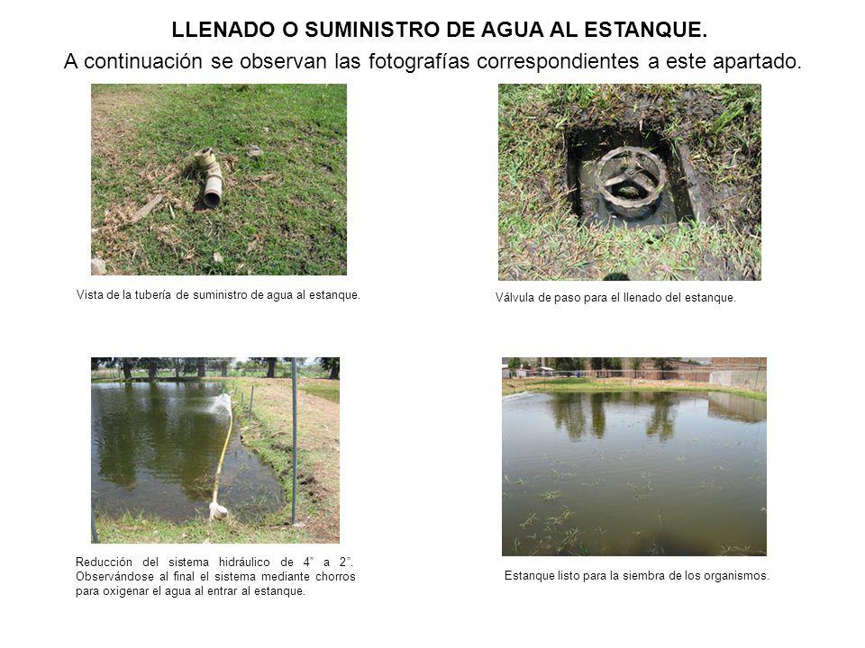 LLENADO O SUMINISTRO DE AGUA AL ESTANQUE.
