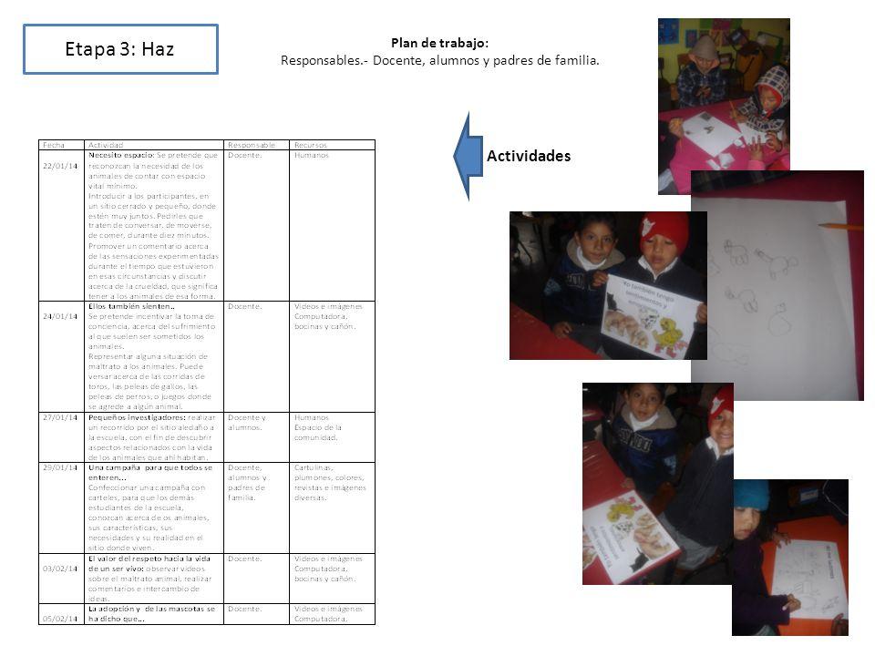 Etapa 3: Haz Plan de trabajo: Responsables.- Docente, alumnos y padres de familia. Actividades