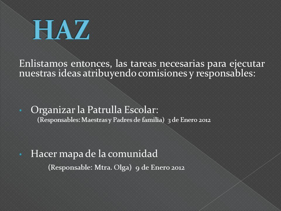 Enlistamos entonces, las tareas necesarias para ejecutar nuestras ideas atribuyendo comisiones y responsables: Organizar la Patrulla Escolar: (Respons