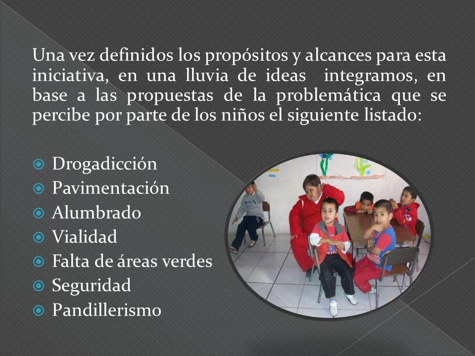 Una vez definidos los propósitos y alcances para esta iniciativa, en una lluvia de ideas integramos, en base a las propuestas de la problemática que s