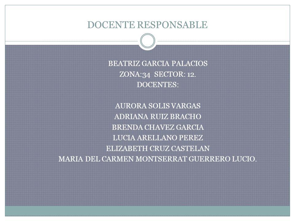 DOCENTE RESPONSABLE BEATRIZ GARCIA PALACIOS ZONA:34 SECTOR: 12. DOCENTES: AURORA SOLIS VARGAS ADRIANA RUIZ BRACHO BRENDA CHAVEZ GARCIA LUCIA ARELLANO