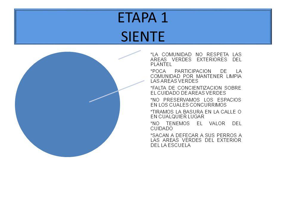 ETAPA 1 SIENTE *LA COMUNIDAD NO RESPETA LAS AREAS VERDES EXTERIORES DEL PLANTEL *POCA PARTICIPACION DE LA COMUNIDAD POR MANTENER LIMPIA LAS AREAS VERD