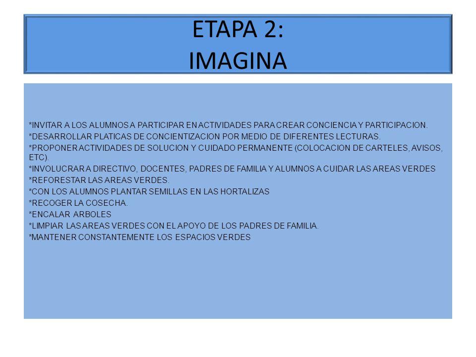 ETAPA 2: IMAGINA *INVITAR A LOS ALUMNOS A PARTICIPAR EN ACTIVIDADES PARA CREAR CONCIENCIA Y PARTICIPACION. *DESARROLLAR PLATICAS DE CONCIENTIZACION PO