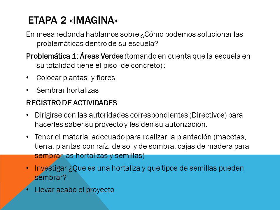 ETAPA 2 «IMAGINA» En mesa redonda hablamos sobre ¿Cómo podemos solucionar las problemáticas dentro de su escuela? Problemática 1; Áreas Verdes (tomand