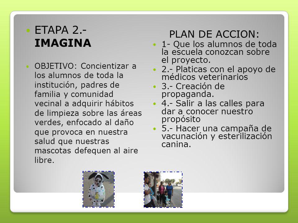 ETAPA 2.- IMAGINA OBJETIVO: Concientizar a los alumnos de toda la institución, padres de familia y comunidad vecinal a adquirir hábitos de limpieza sobre las áreas verdes, enfocado al daño que provoca en nuestra salud que nuestras mascotas defequen al aire libre.