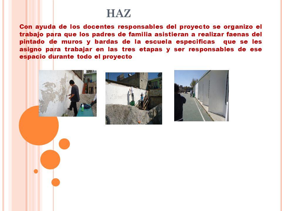 HAZ Con ayuda de los docentes responsables del proyecto se organizo el trabajo para que los padres de familia asistieran a realizar faenas del pintado