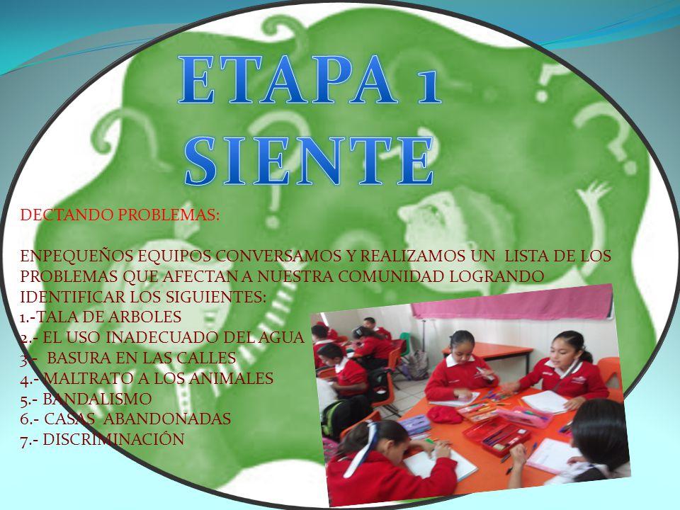 DECTANDO PROBLEMAS: ENPEQUEÑOS EQUIPOS CONVERSAMOS Y REALIZAMOS UN LISTA DE LOS PROBLEMAS QUE AFECTAN A NUESTRA COMUNIDAD LOGRANDO IDENTIFICAR LOS SIGUIENTES: 1.-TALA DE ARBOLES 2.- EL USO INADECUADO DEL AGUA 3.- BASURA EN LAS CALLES 4.- MALTRATO A LOS ANIMALES 5.- BANDALISMO 6.- CASAS ABANDONADAS 7.- DISCRIMINACIÓN
