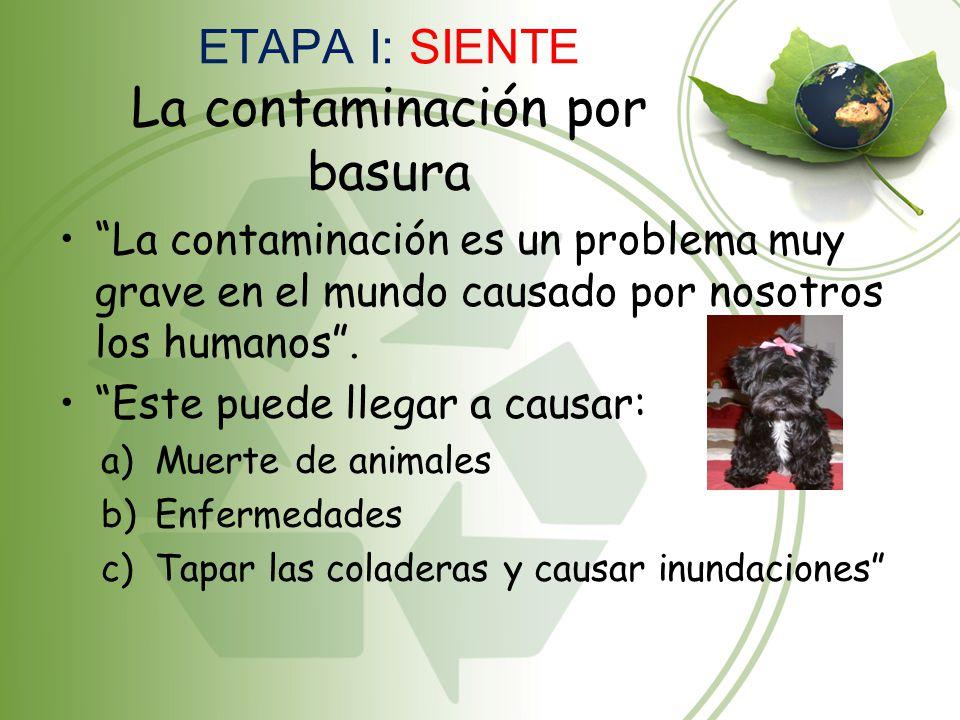 ETAPA I: SIENTE La contaminación por basura La contaminación es un problema muy grave en el mundo causado por nosotros los humanos. Este puede llegar