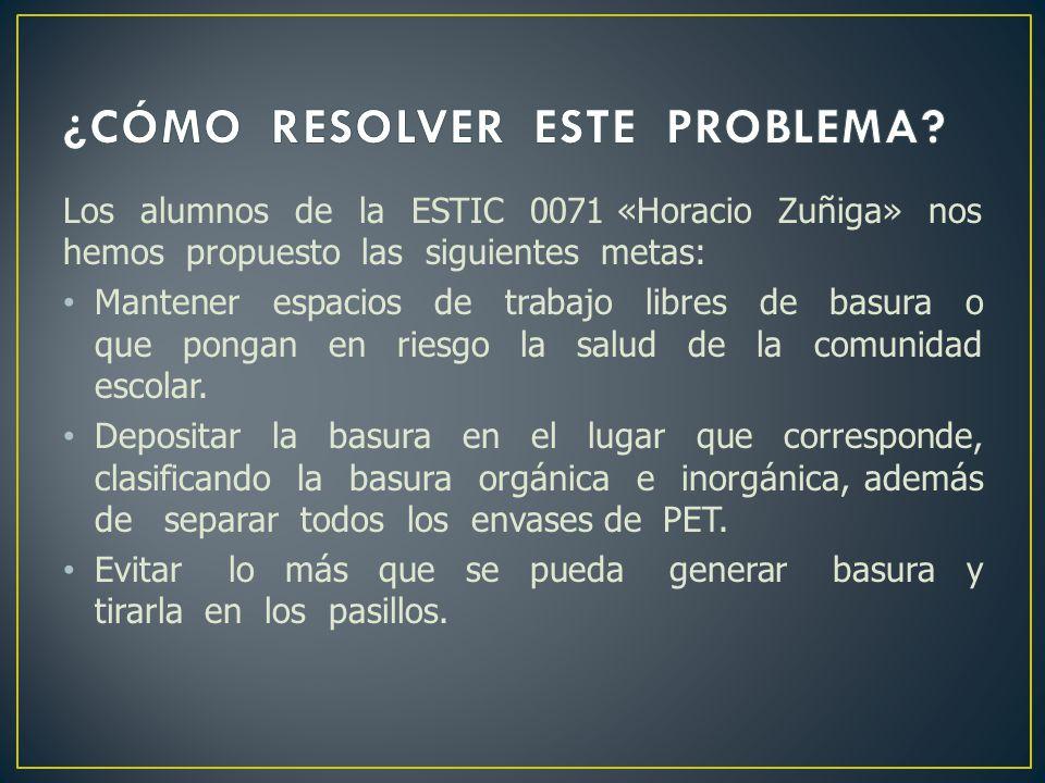 Los alumnos de la ESTIC 0071 «Horacio Zuñiga» nos hemos propuesto las siguientes metas: Mantener espacios de trabajo libres de basura o que pongan en
