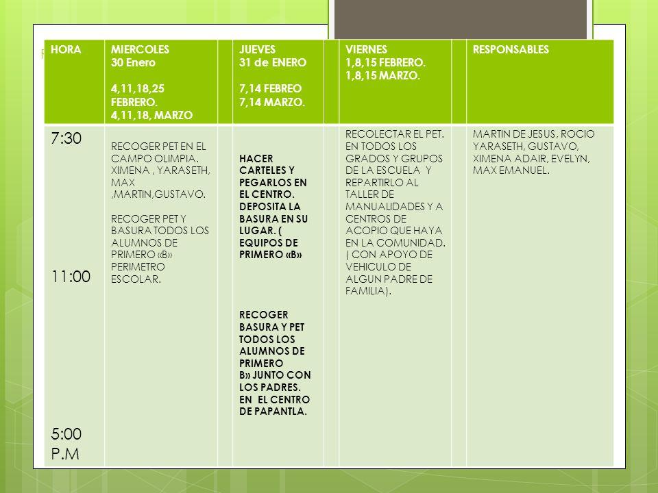 Realizamos nuestro cronograma de trabajo HORAMIERCOLES 30 Enero 4,11,18,25 FEBRERO.