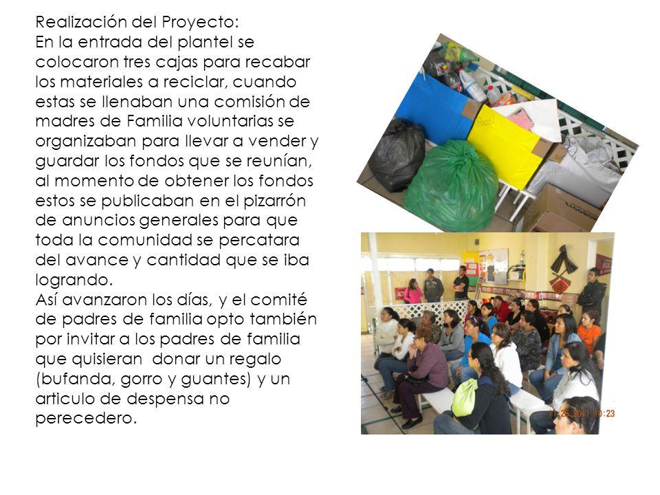 Realización del Proyecto: Por otra parte las docentes trabajaron con los alumnos temas relacionados al cuidado del medio ambiente y la importancia que resulta del trabajo de reciclar fomentando así esta actividad en el hogar para lograr mayor concientización en nuestra comunidad.