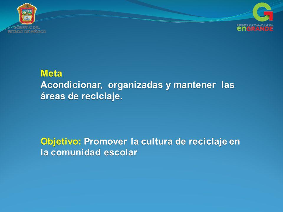 Meta Acondicionar, organizadas y mantener las áreas de reciclaje.