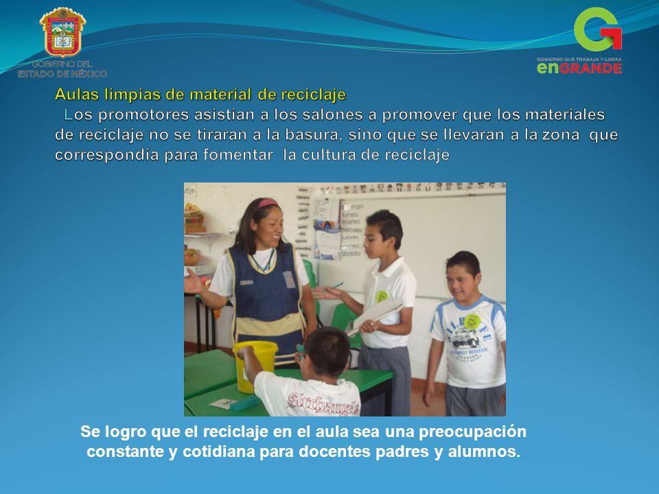 Se logro que el reciclaje en el aula sea una preocupación constante y cotidiana para docentes padres y alumnos.