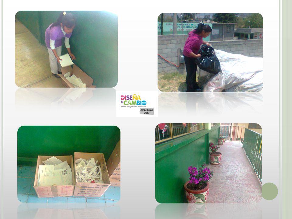 E TAPA 3:HAZ Las actividades desarrolladas son: Los alumnos al igual que los padres de familia recolectaron plástico (envases de agua y refresco) apoyando con la limpieza de su medio ambiente.