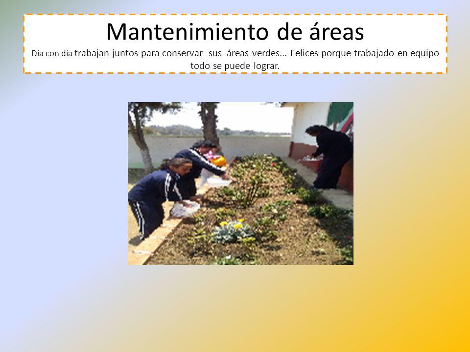 Mantenimiento de áreas Día con día trabajan juntos para conservar sus áreas verdes... Felices porque trabajado en equipo todo se puede lograr.